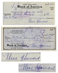 Moe Howard Lot of Two Checks Signed, Both Made Out to Shemps Wife Gertrude Howard -- Dated 3 August 1956 and 29 January 1959 -- Very Good Condition