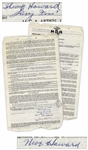 The Three Stooges 1951 Signed Contract With Their Agent, With Shemps Signature