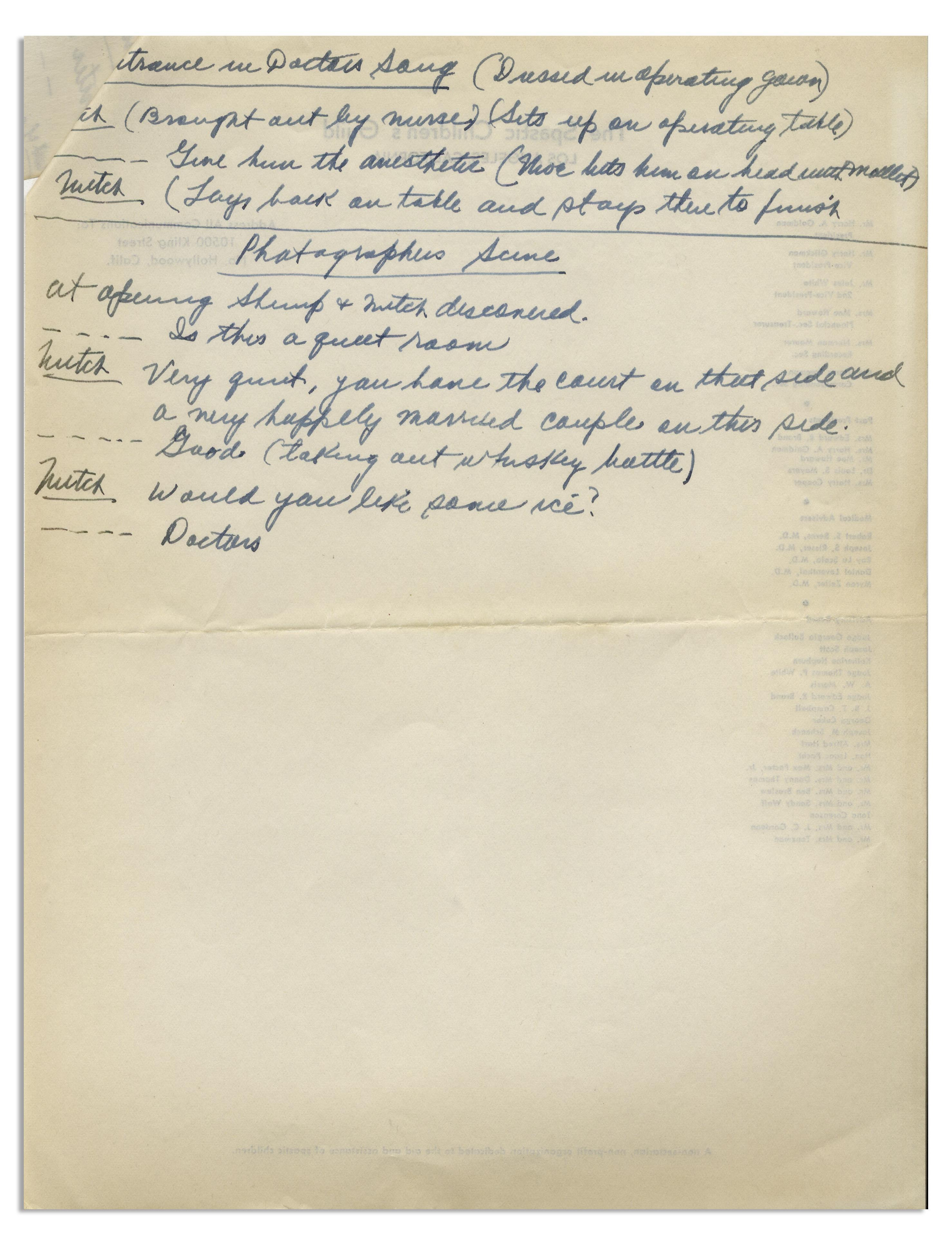Lot Detail - Moe Howard's Handwritten Story Notes, Signed Within
