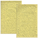 Moe Howards Handwritten Manuscript Page When Writing His Autobiography -- Moe Writes About Vaudeville: he would place a girl in the canon feet first  -- Two Pages on One 8 x 12.5 Sheet