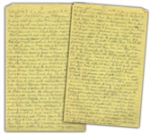 Moe Howards Handwritten Manuscript Page When Writing His Autobiography -- Unpublished Details About Larrys Philandering, it cost Larry another diamond ring -- Two Pages on One 8 x 12.5 Sheet