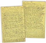 Moe Howards Handwritten Manuscript Page When Writing His Autobiography -- Moe Discloses Details About Larry & how Larry became one of The 3 Stooges -- Two Pages on One 8 x 12.5 Sheet