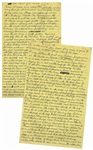 Moe Howards Handwritten Manuscript Page When Writing His Autobiography -- Moe Pranks Larry, Landing a Blueberry Pie Smack on His Head, a perfect bullseye -- Two Pages on One 8 x 12.5 Sheet
