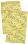 Moe Howards Handwritten Manuscript Page When Writing His Autobiography -- How Movies Killed the Vaudeville Star & the Exploits of Howard, Fine & Howard -- Two Pages on One 8 x 12.5 Sheet