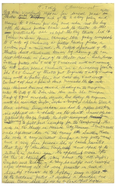 Moe Howard's Handwritten Manuscript Page When Writing His Autobiography -- How Movies Killed the Vaudeville Star & the Exploits of Howard, Fine & Howard -- Two Pages on One 8'' x 12.5'' Sheet