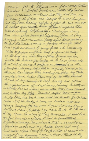 Moe Howard's Handwritten Manuscript Page When Writing His Autobiography -- Moe Describes Early Jealousy, ''young folks who resented my ability to perform in films'' -- Single 8'' x 12.5'' Page