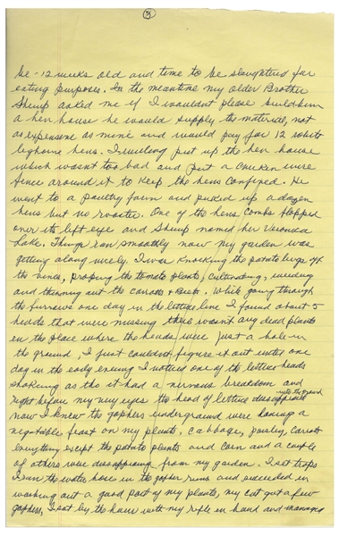 Moe Howard's Handwritten Manuscript Page When Writing His Autobiography -- Moe Declares War Against His Gophers, ''I set traps, I ran the water hose...my rifle in hand''--  Single 8'' x 12.5'' Page