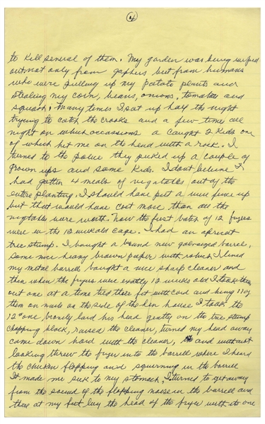 Moe Howard's Handwritten Manuscript Page When Writing His Autobiography -- Funny Stories of Moe's WWII Garden, ''caught 2 kids one of which hit me on the head with a rock''--  Single 8'' x 12.5'' Page