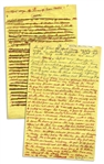 Moe Howards Handwritten Manuscript Page When Writing His Autobiography -- The 3 Stooges After Curly: Every time I smacked or poked Shemp I was seeing Curly -- Two Pages on One 8 x 12.5 Sheet