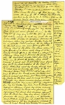 Moe Howards Handwritten Manuscript Page When Writing His Autobiography -- Moe Remembers Curlys Stroke: found him with his head dropped to his chest -- Two Pages on One 8 x 12.5 Sheet