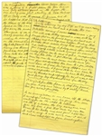Moe Howards Handwritten Manuscript Page When Writing His Autobiography -- Funny Anecdotes by Moe, never could tell what would happen in one of our comedies -- Two Pages on One 8 x 12.5 Sheet