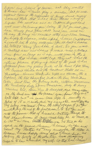 Moe Howard's Handwritten Manuscript Page When Writing His Autobiography -- Moe Gets Paid to Act, ''I was happy doing what I loved best and helping the family'' -- Single 8'' x 12.5'' Page