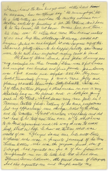 Moe Howard's Handwritten Manuscript Page When Writing His Autobiography -- Moe's Remembers Early Roles, ''I learned plenty...Facial expressions and the way I was to walk'' -- Single 8'' x 12.5'' Page