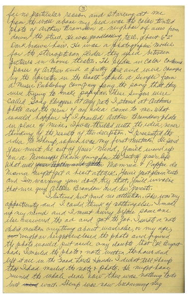 Moe Howard's Handwritten Manuscript Page When Writing His Autobiography -- Moe Describes His Infamous Plan to Get Work on a Showboat, ''the germ of an idea came to me'' -- Single 8'' x 12.5'' Page