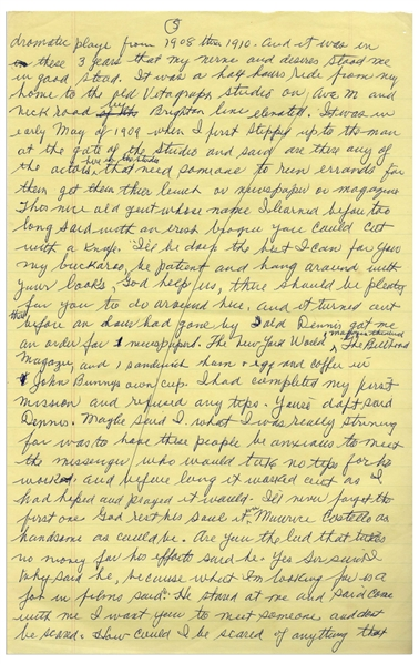 Moe Howard's Handwritten Manuscript Page When Writing His Autobiography -- Moe Describes Breaking Into Show Business, ''my nerve and desires stood me in good stead'' -- Single 8'' x 12.5'' Page