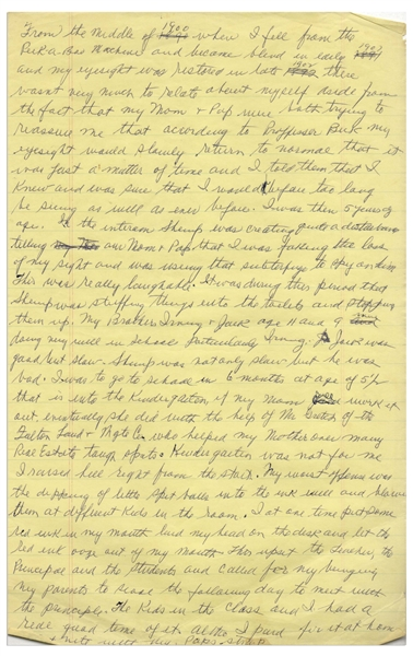 Moe Howard's Handwritten Manuscript Page When Writing His Autobiography -- Moe Remembers His Childhood, ''Kindergarten was not for me. I raised hell right from the start'' -- Single 8'' x 12.5'' Page