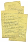 Moe Howards Handwritten Manuscript Page When Writing His Autobiography -- Timeline of Important Events From 1916-1970 -- Two Pages on One 8 x 12.5 Sheet, Plus Additional Page of Helens Notes