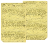 Moe Howards Handwritten Manuscript Page When Writing His Autobiography -- Moe Remembers Life on the Vaudeville Circuit With Larry & Curly -- Two Pages on One 8 x 12.5 Sheet