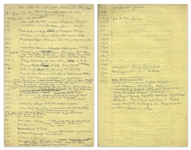 Moe Howards Handwritten Manuscript Page When Writing His Autobiography -- Timeline of Important Events From 1908-1973 -- Two Pages on One 8 x 12.5 Sheet