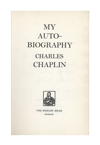 Charlie Chaplin Signed Autobiography to His Friend, the Photographer Alfred Eisenstaedt
