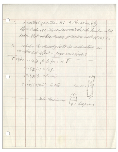 Richard Feynman Autograph Manuscript Entitled ''Conversation with Presskill'' -- Comprising Three Pages of Notes on Theoretical Physics