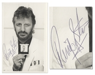 Ringo Starr Signed Photo -- A Very Meta Photo of Starr Holding His Own Photo, Holding His Own Photo