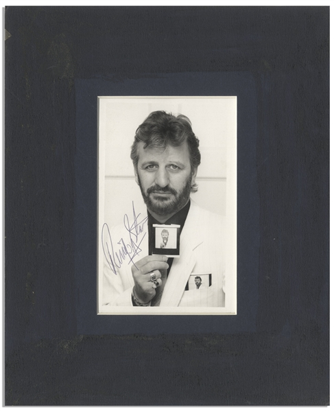 Ringo Starr Signed Photo -- A Very ''Meta'' Photo of Starr Holding His Own Photo, Holding His Own Photo
