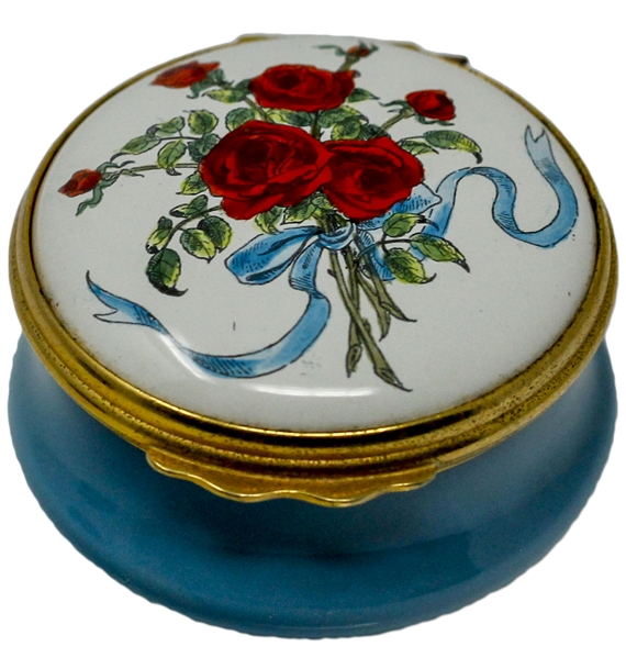 Ronald & Nancy Reagan Personally Owned Cartier Pillbox -- ''A bouquet with Love''