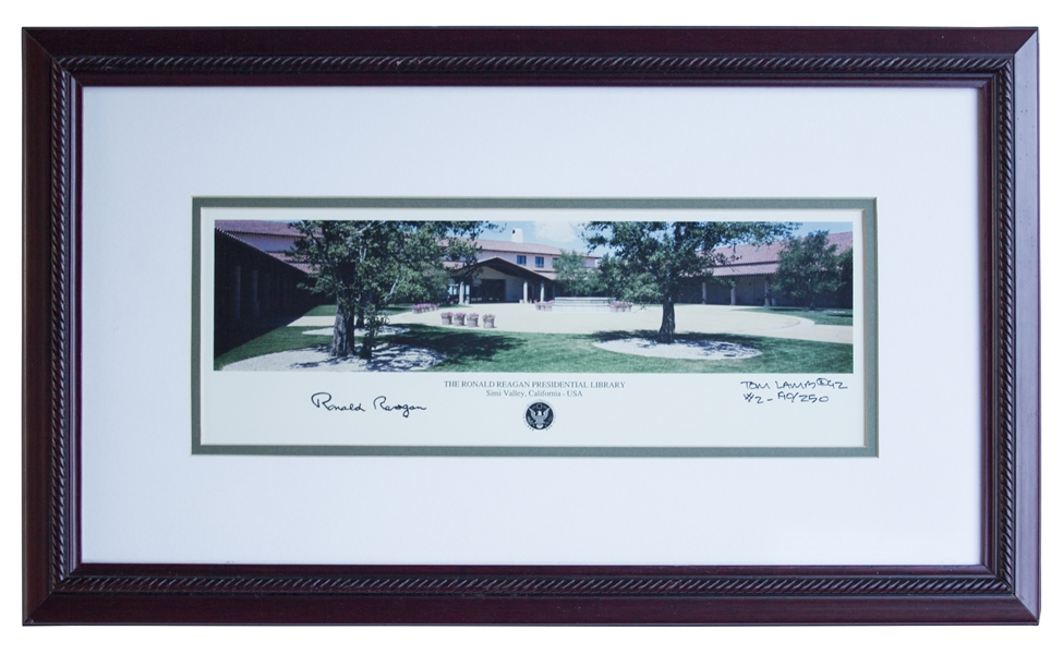 Ronald Reagan Signed Photo of His Presidential Library -- Limited Edition