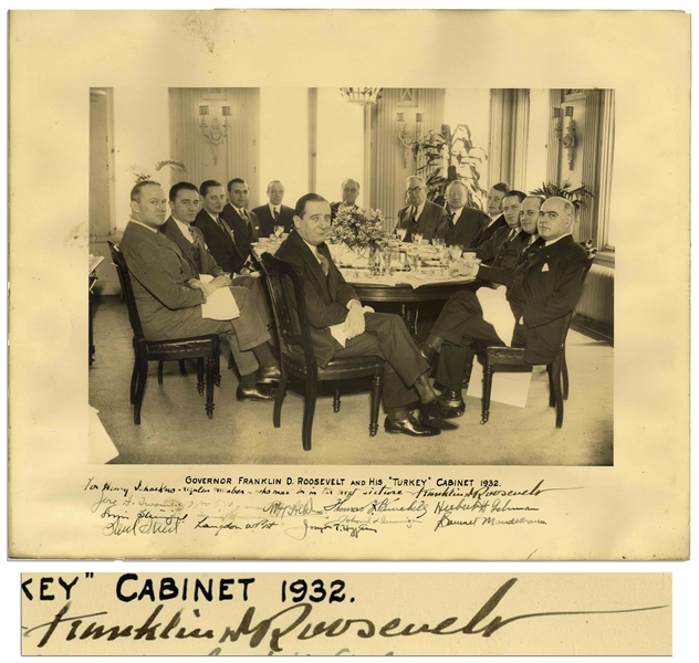 Franklin D. Roosevelt Signed Photo of His ''Turkey Cabinet'' as Governor of New York in 1932 -- Signed in Full, ''Franklin D. Roosevelt''
