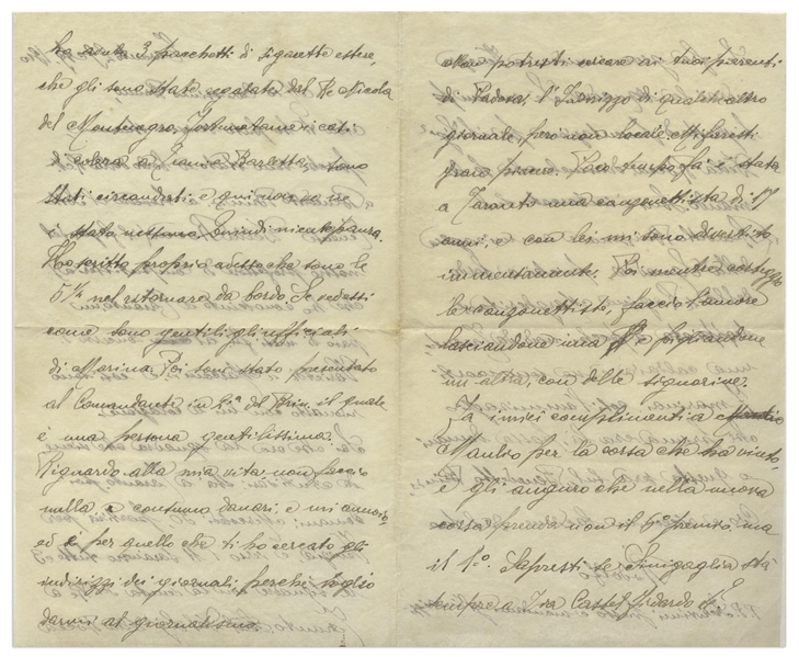 Rudolph Valentino Autograph Letter Signed ''Rodolfo'' at 15 -- ''...I'm going out with these singers, and at the same time, I make love to nice girls, leaving one and then taking up with another...''