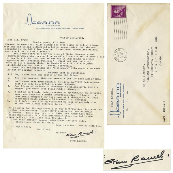 Stan Laurel Letter Signed From August 1962 -- ''...Sad about Marilyn Monroe...''
