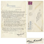 Stan Laurel Letter Signed From August 1962 -- ...Sad about Marilyn Monroe...