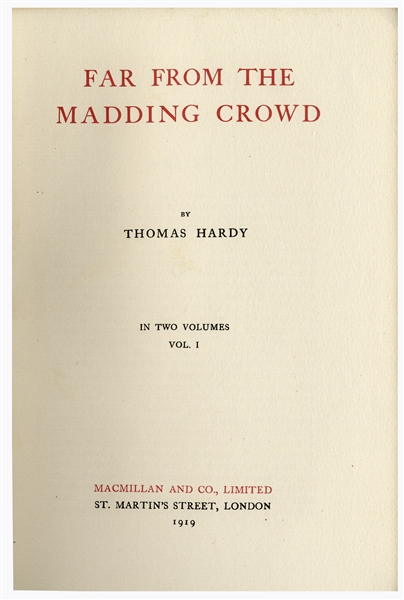 Thomas Hardy Signed Limited Edition of His Works -- 37 Volume Mellstock Edition, Rare in Original Cloth