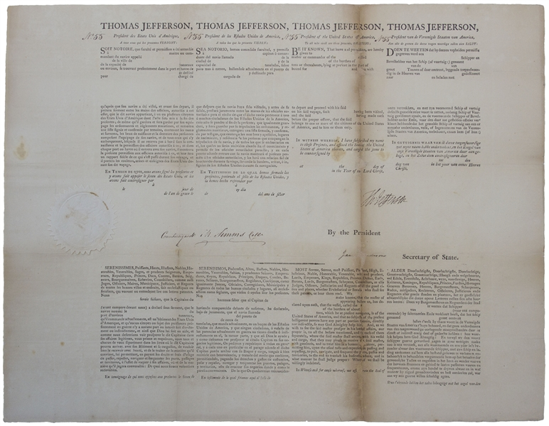 Thomas Jefferson Document Signed as President -- 4-Language Ship's Papers Also Signed by James Madison