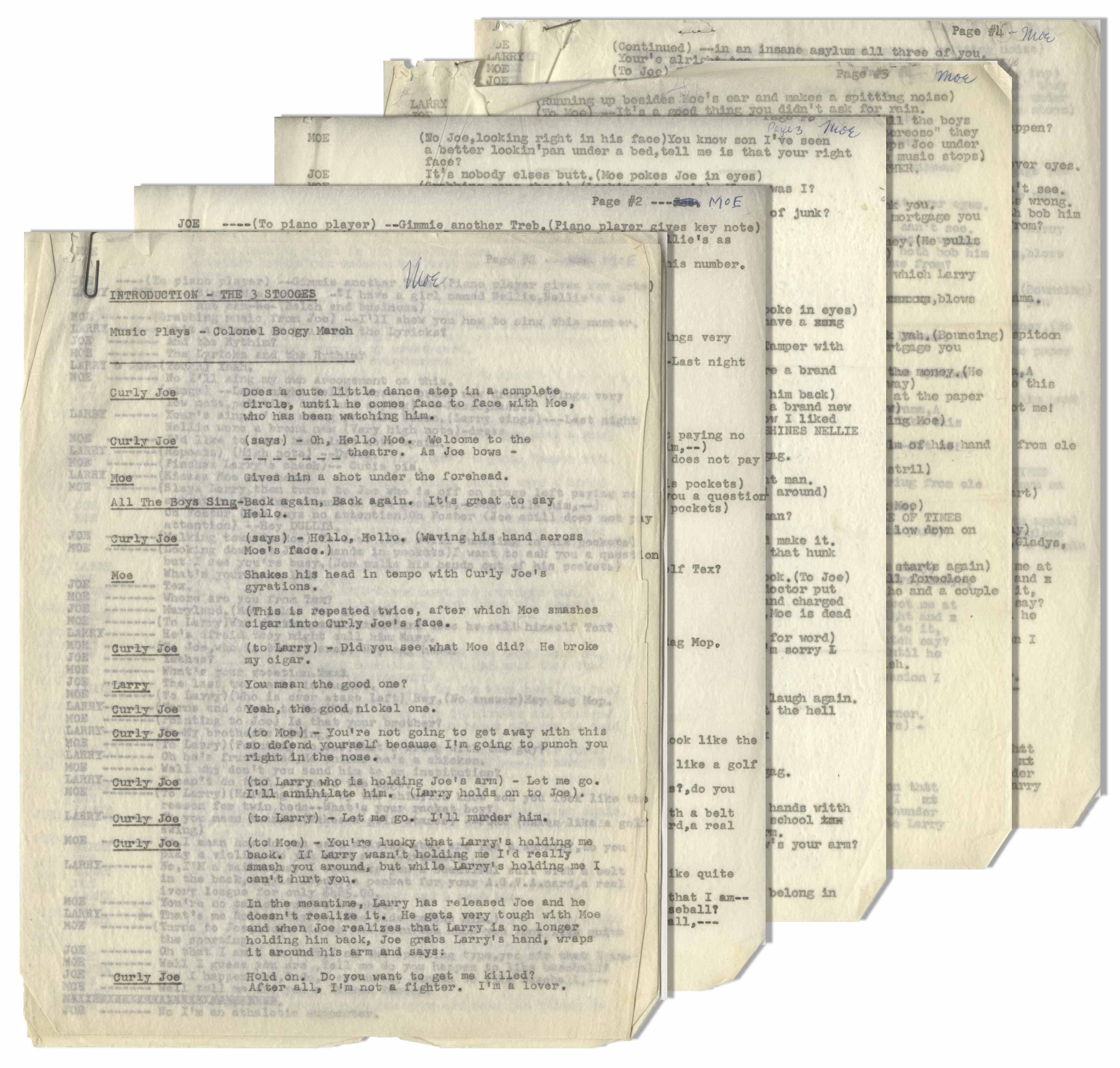 Lot Detail - Moe Howard's 5pp  Script for Comedy Sketch