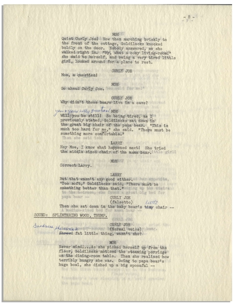 Moe Howard's 11pp. Script for ''The New Three Stooges'' Episode ''Goldibear and the Three Stooges'', Circa 1965 -- Annotated by Moe With His Signatures -- 8.5'' x 11'' Loose Pages, Near Fine