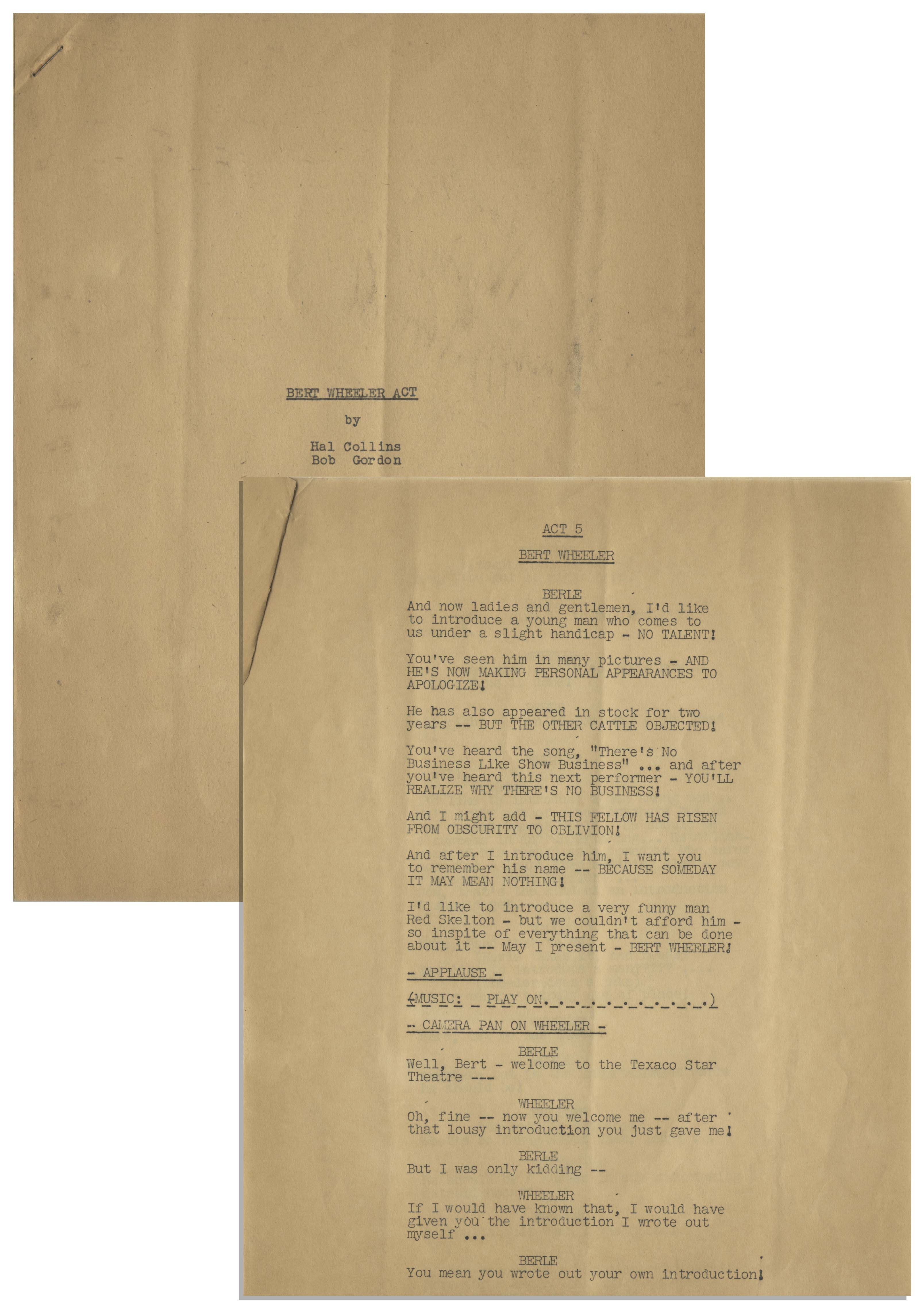 Lot Detail - Moe Howard's 9pp  Script of the ''Bert Wheeler Act
