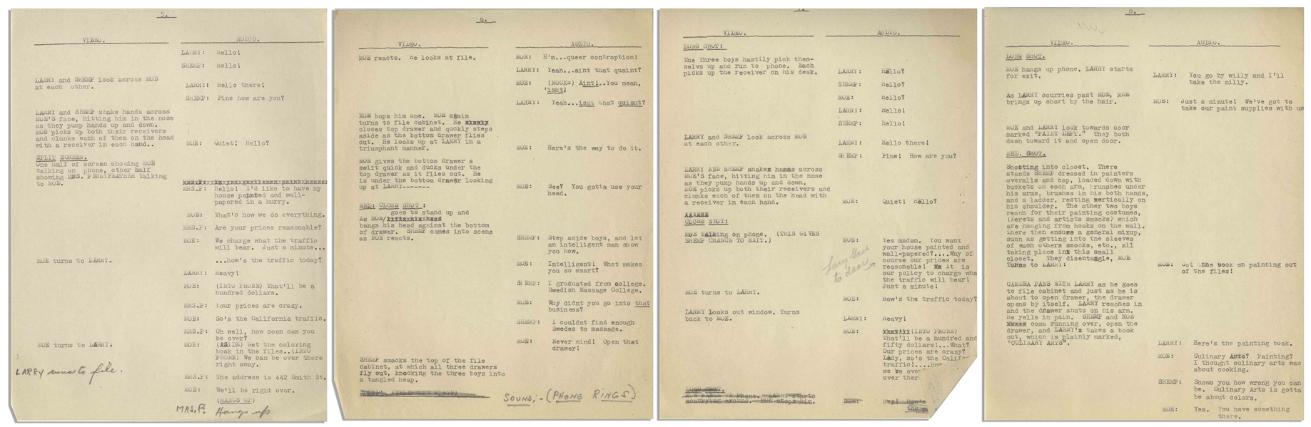 Moe Howard's 29pp. Script for The Three Stooges 1949 Pilot TV Show ''Jerks of All Trades'' With Shemp -- Annotated by Moe, With His Signature -- 8.5'' x 11'' -- Very Good Condition