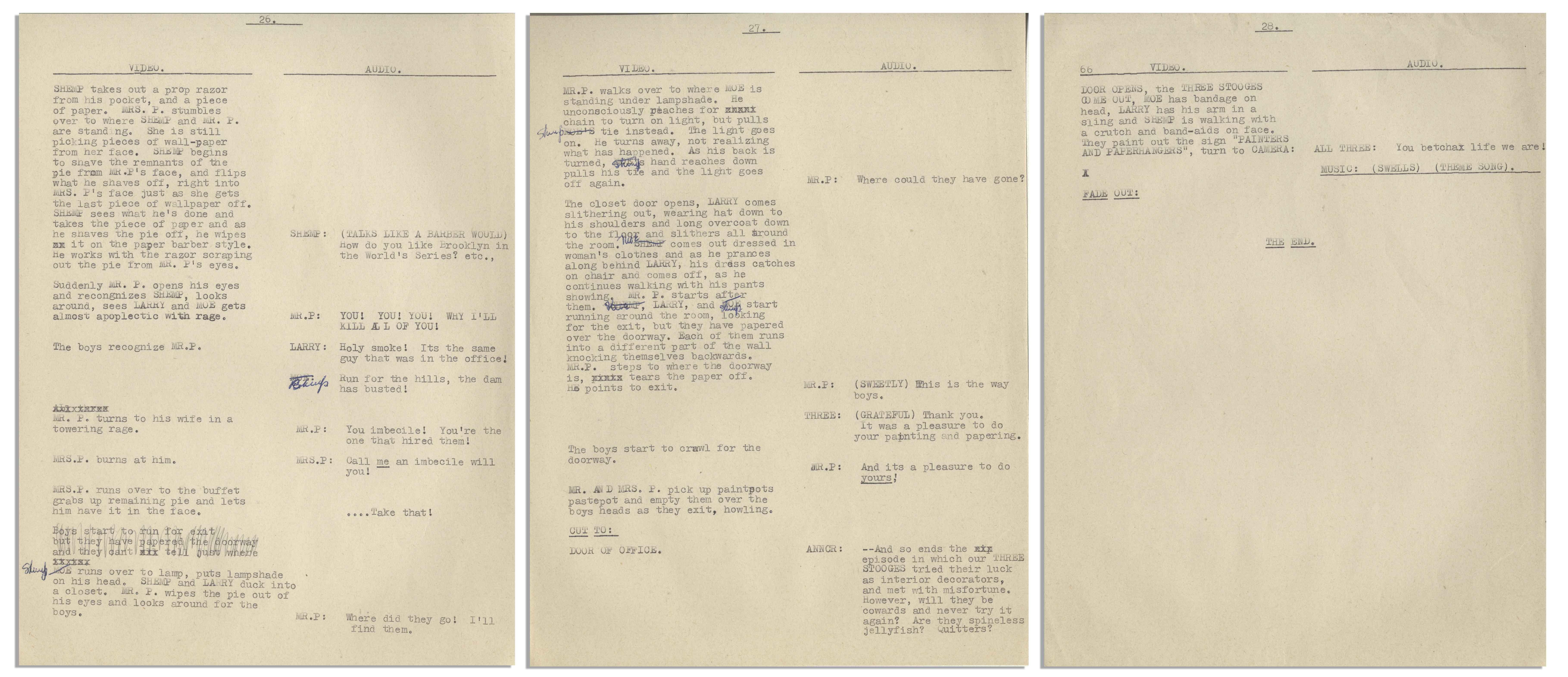 Lot Detail - Moe Howard's 29pp  Script for The Three Stooges 1949