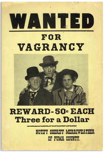 9 x 12 Handbill for The Three Stooges 1951 Film Merry Mavericks, Offering a Bounty of Three for a Dollar -- Printed on Flexible Cardstock -- Mild Discoloration & Chipping, Very Good