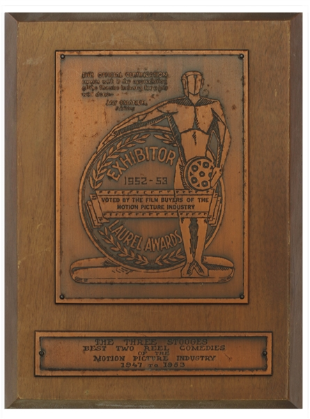 Moe Howard's Laurel Award, Awarded to The Three Stooges for Best Two-Reel Comedies From 1947-1953 -- Plaque Measures 7'' x 9.25'' -- Some Nicks to Wood & Mild Tarnishing to Metal, Overall Very Good