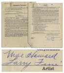 Moe Howard & Larry Fine Signed & Initialed Employment Contract With Columbia Pictures, Dated 1 January 1956 Just After Shemps Death -- 20pp. Agreement Measures 8.5 x 11 -- Very Good