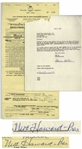 Moe Howard Lot of 2 Signed Agreements From 1959 With Coney Island Amusement Park in Cincinnati Regarding Three Stooges Performances -- Measures 8.5 x 11 (Good Condition) & 8.5 x 17 (Very Good)