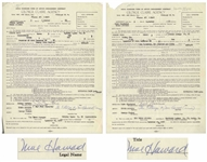 Two November 1958 Contracts Signed by Moe Howard, Who Signs Each The 3 Stooges by Moe Howard (owner) -- AGVA Contracts for Three Stooges Performances -- Each Measures 8.5 x 11, Very Good