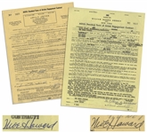 Two December 1958 Contracts Signed by Moe Howard, Who Signs Each 3 Stooges by Moe Howard -- AGVA Contracts for Three Stooges Performances -- Each Measures 8.5 x 11, Very Good
