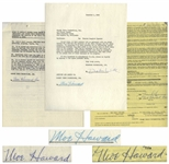 Two 1959 Contracts Signed by Moe Howard -- One 2pp. Signed Twice by Moe Regarding Moulin Rouge Event; Other 1pp. Regarding Frances Langford Special Signed -- Each Measures 8.5 x 11, Very Good