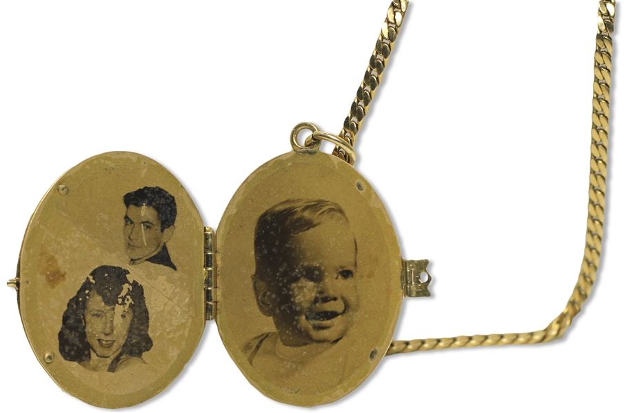 Moe Howard's 14K Gold Locket & Chain, Engraved ''MH'' -- Opens to Photos of His Daughter's Family: Joan & Howard Maurer & Their Son Michael -- Approx. 20 Grams Gold Total, Locket Measures 1'' x 1.5''