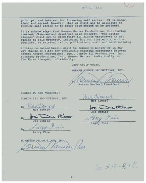 The Three Stooges Twice-Signed Contract From May 1970 Regarding ''Little Stooges'' -- Signed Twice by Moe Howard, Larry Fine & Joe DeRita -- Two Pages in Folder Measuring 9'' 11.5'' -- Near Fine