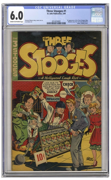 The Three Stooges 1949 #1 Comic, Slabbed & Graded 6.0 by CGC -- First Appearance of The Three Stooges in Comic Book